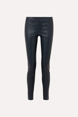 The Row Stretch-leather Skinny Pants - Navy