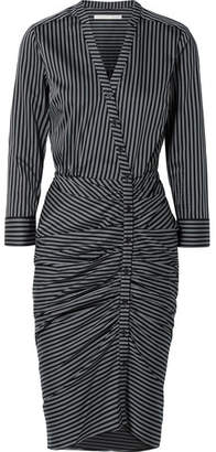 Veronica Beard Sadie Ruched Striped Cotton Midi Dress - Midnight blue