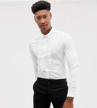 Asos DESIGN Tall skinny fit ruffle front shirt in white