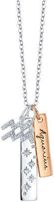 """Unwritten Cubic Zirconia Constellation Aquarius Zodiac Pendant Necklace with Two-Tone Silver Plated Charms on Sterling Silver Chain, 18"""""""