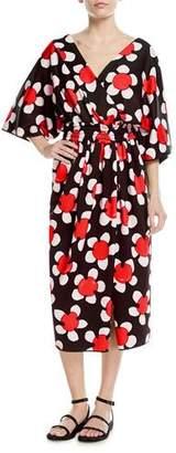 Marc Jacobs 3/4-Sleeve Wrap-Front Daisy Dress