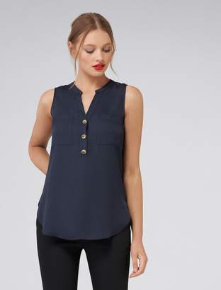 14f97caf9bae02 Forever New Mabel Button Front Essential Top - Admiral Blue - l