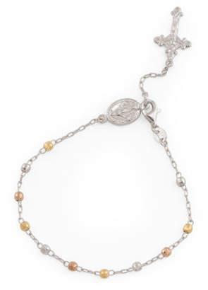 Made In Italy Tri Tone Sterling Silver Diamond Cut Bracelet