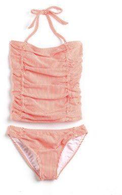 Jessica Simpson Girls 7-16 Seersucker Tankini Swimsuit