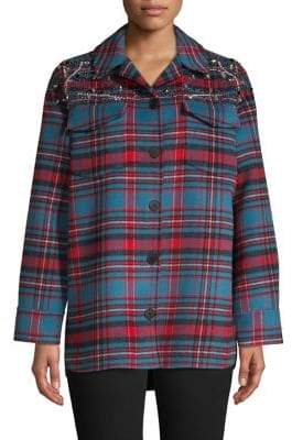 Sandro Plaid Embellished Jacket