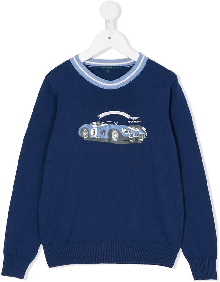 Aston Martin Kids logo print knitted jumper