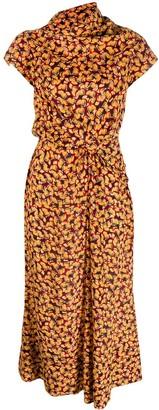 Saloni abstract print draped dress