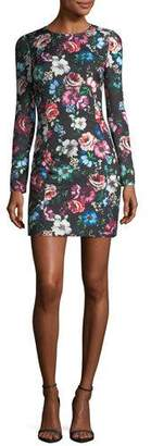 Black Halo Lively Long-Sleeve Floral-Printed Cocktail Dress