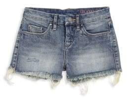 Blank NYC Girl's Distressed-Hem Denim Shorts