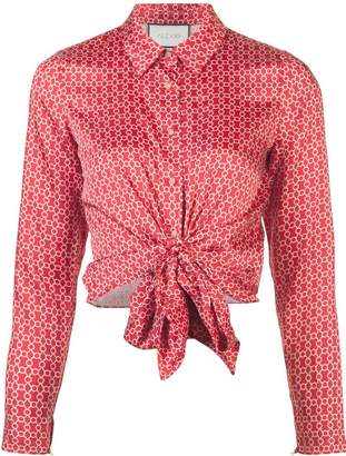 Alexis tie front printed shirt