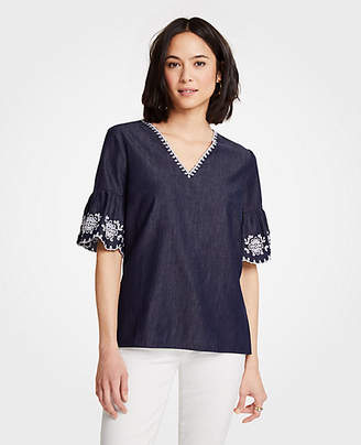Ann Taylor Petite Floral Embroidered Denim Top