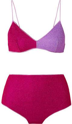 Oséree Lumière Color-block Stretch-lurex Bikini