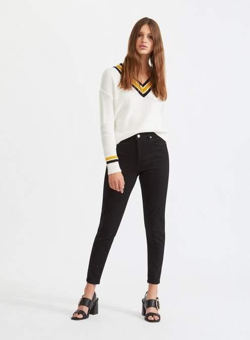 Lizzie high waist super skinny black spotted jeans