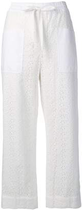 Tory Burch drawstring embroidered trousers