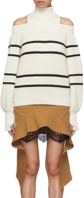 Self-Portrait Turtleneck panel stripe cold shoulder sweater