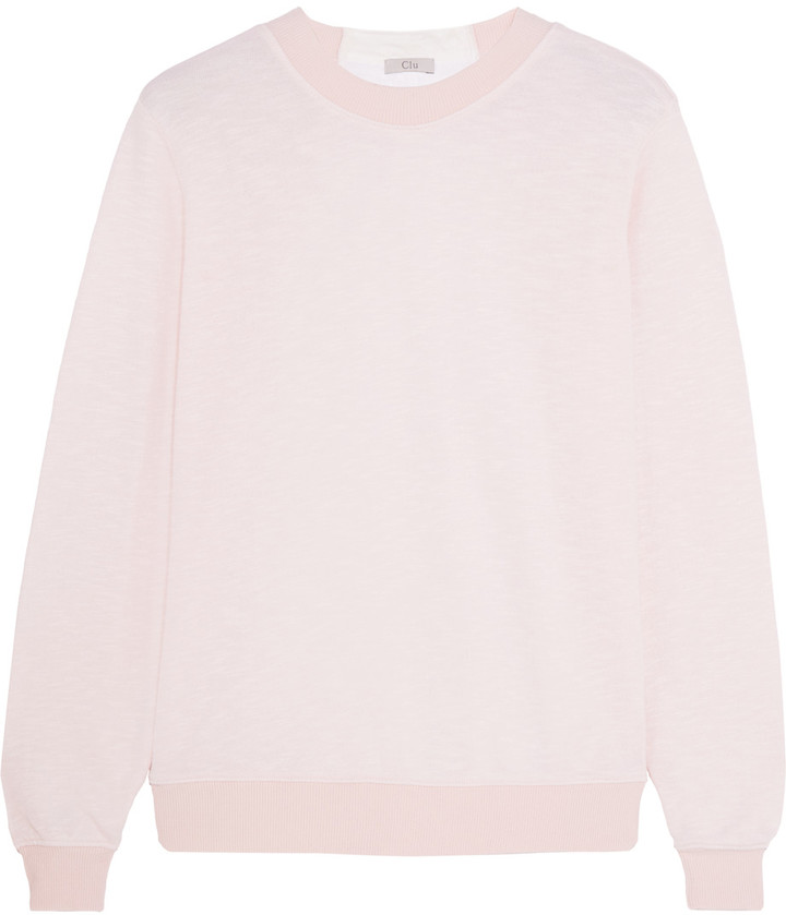 Clu CLU Bow-embellished slub-jersey and crepe sweatshirt