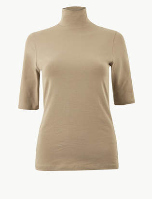 Marks and Spencer High Neck Short Sleeve T-Shirt