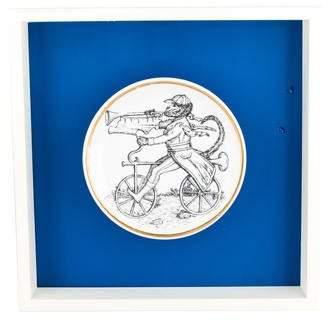 Fornasetti Piero Monkey on Bicycle Framed Coaster