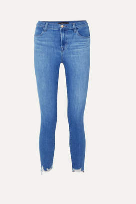 J Brand Alana Cropped Distressed High-rise Skinny Jeans - Mid denim