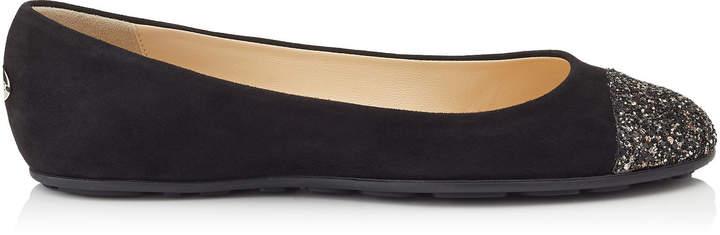 GAZE FLAT Black Suede Ballerina Flats with Bronze Mix Midnight Coarse Glitter Fabric Toe Cap