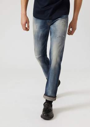 Emporio Armani J45 Slim Fit Jeans In Comfort Cotton Twill Denim With Tears And Bleaching