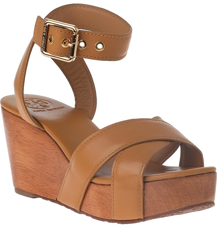 Tory Burch Almita Mid Wedge Sandal Natural Leather