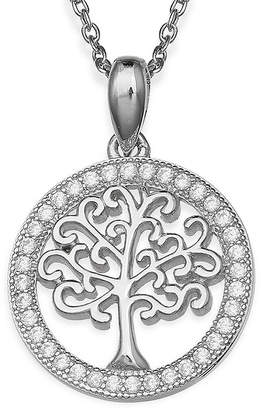 SILVER TREASURES Silver Enchantment Cubic Zirconia Family Tree Pendant Necklace