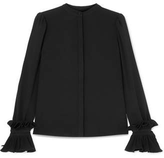 Co Ruffled Crepe Blouse - Black