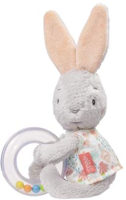 Fehn 062069 Rattle Ring Rabbit Rattle Toy for Rattling Feeling Playing with Cuddly Soft Fabric Rabbits with Colourful Rattle Beads for Babies and Toddlers from 0+ Months