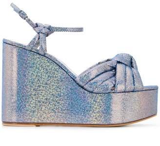 f0571b11b0b Casadei metallic wedge sandals