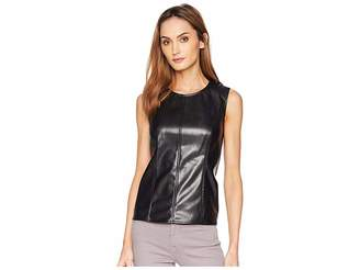 Vince Camuto Sleeveless Knit Back Pleather Shell
