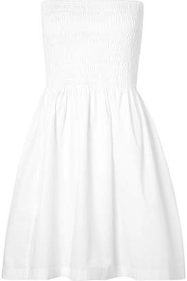 ATM Anthony Thomas Melillo Shirred Cotton-poplin Dress - White