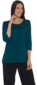Factory Quacker 3/4-Sleeve Lace Front KnitT-Shirt