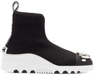 Miu Miu Black Crystal High-Top Sock Sneakers
