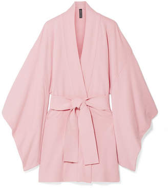 Norma Kamali Belted Cotton-blend Terry Kimono - Baby pink
