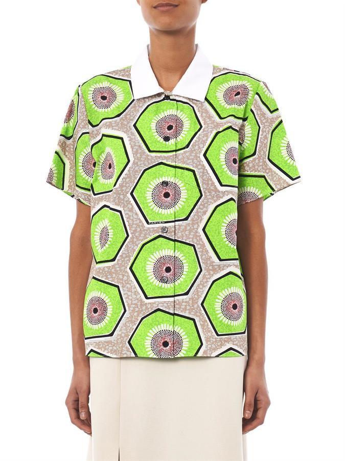 Carven Kiwi-print short-sleeved shirt