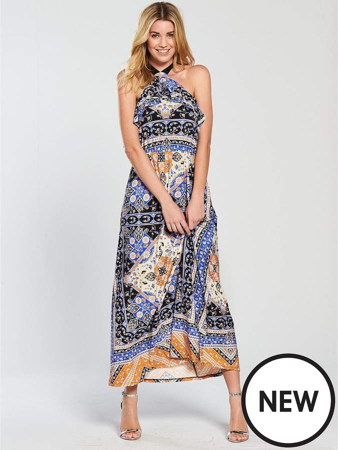Scarf Print Jersey Maxi Dress