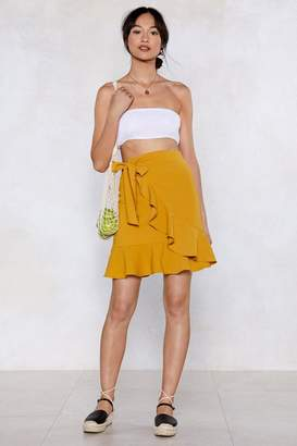 Nasty Gal You Are the Real Linen Here Wrap Skirt