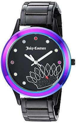 Juicy Couture Label Women's JC/1053MTBK Multicolor Swarovski Crystal Accented Bracelet Watch