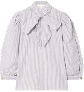 Ulla Johnson Julie Pussy-bow Striped Metallic Cotton-blend Blouse - Sky blue
