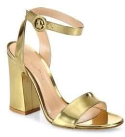 Gianvito Rossi Tandi Metallic Leather Ankle-Strap Block-Heel Sandals