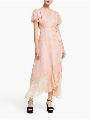 5b0e94521c23 Somerset by Alice Temperley Ruffle Hem Jacquard Midi Dress, Blush
