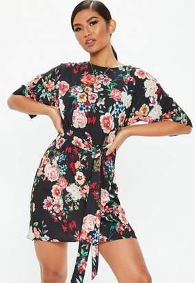 Missguided Black Tie Waist Floral T-Shirt Dress