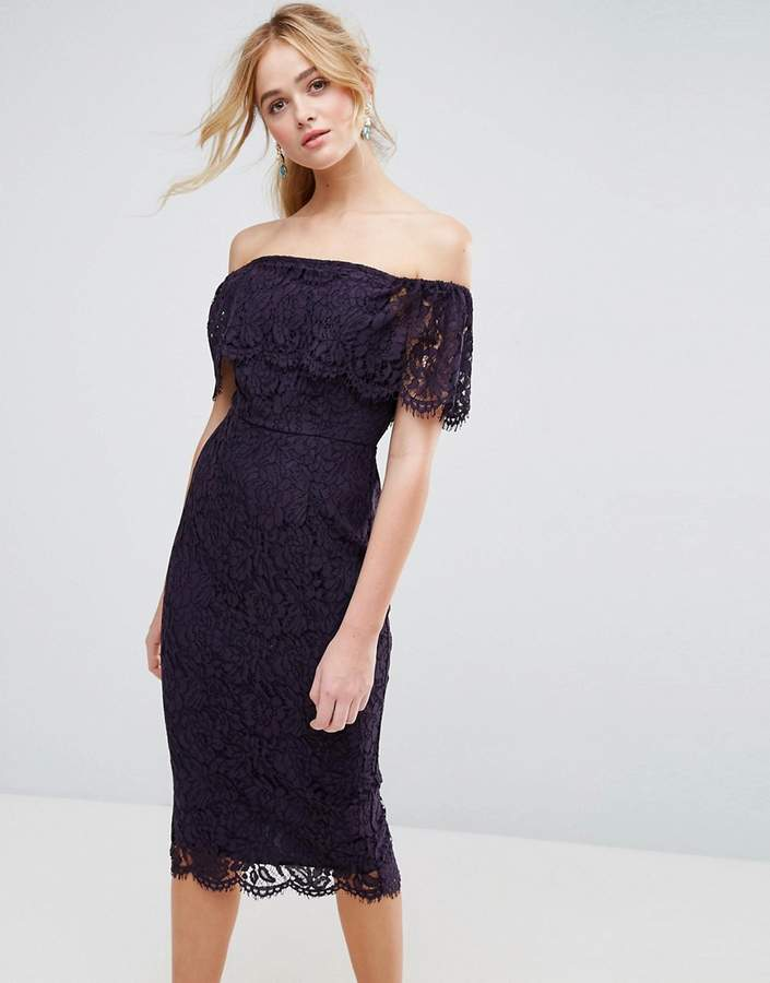 Asos ASOS Lace Bardot Midi Pencil Dress