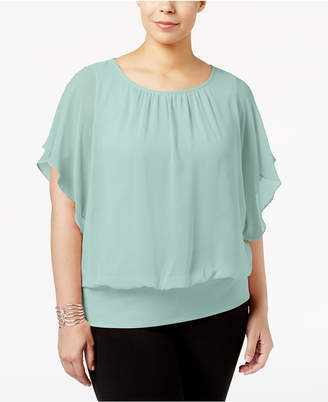 JM Collection Plus Size Banded-Bottom Top