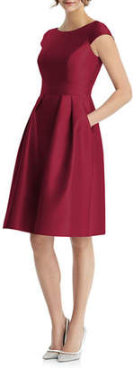 Alfred Sung Bateau-Neck Cap-Sleeve Pleated Skirt Sateen Twill Dress w/ Pockets