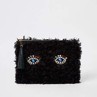 River Island Black fleece embellished eye clutch bag