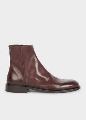 Paul Smith Men's Chocolate Brown Leather 'Billy' Zip Boots