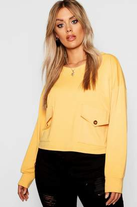 boohoo Plus Pocket Button Front Sweat Top