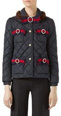 Gucci Mink Fur-Trimmed Bow Quilted Jacket